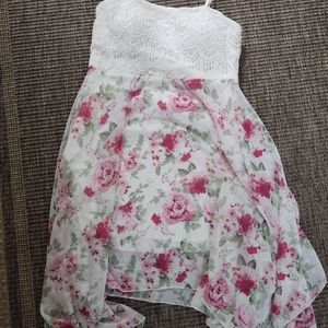 White and Pink Lacey Floral Dress